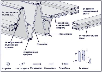 Белый глянец 101 дверь-гармошка глухая 83х204см Monica FORTE (Италия) .